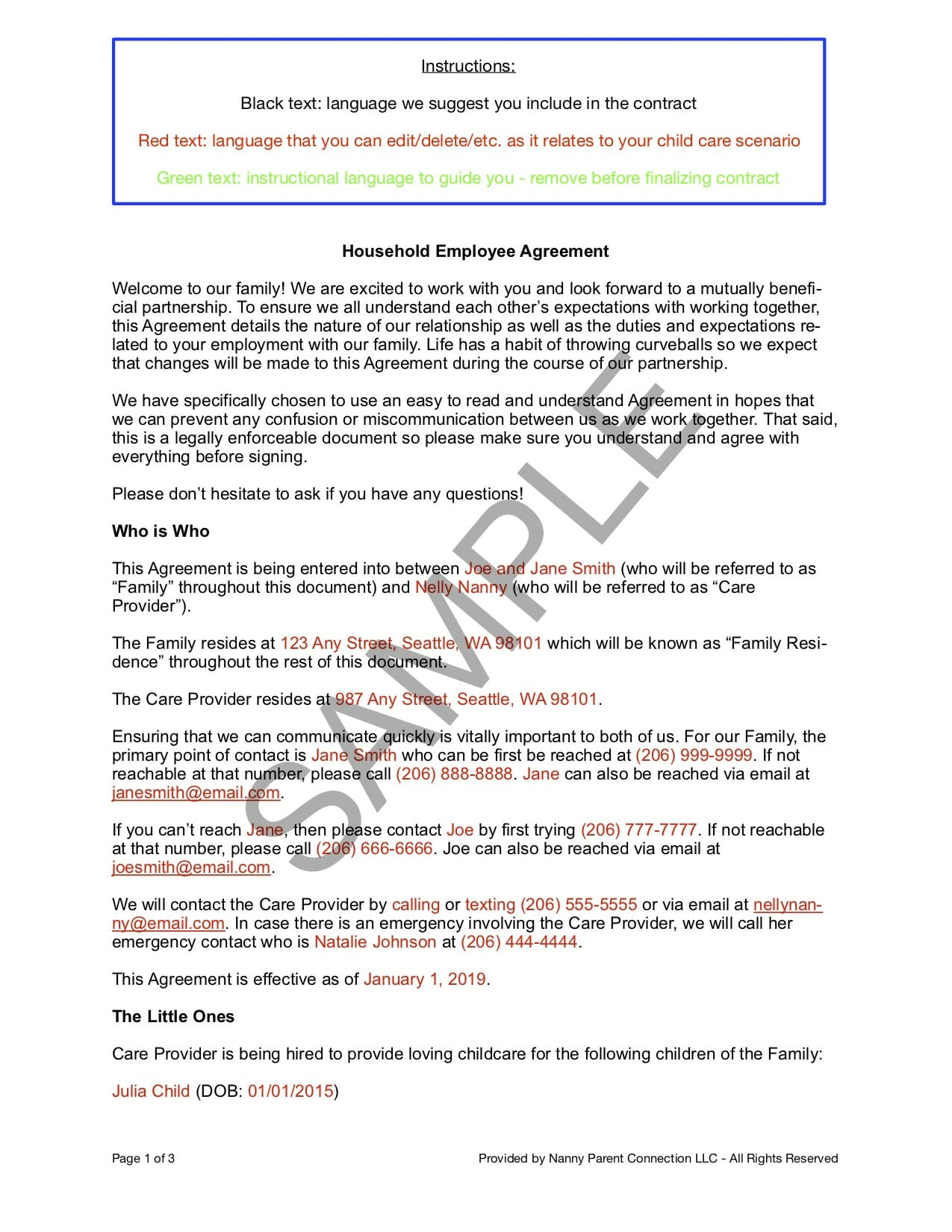 Household Employee Agreement Nanny Parent Connection