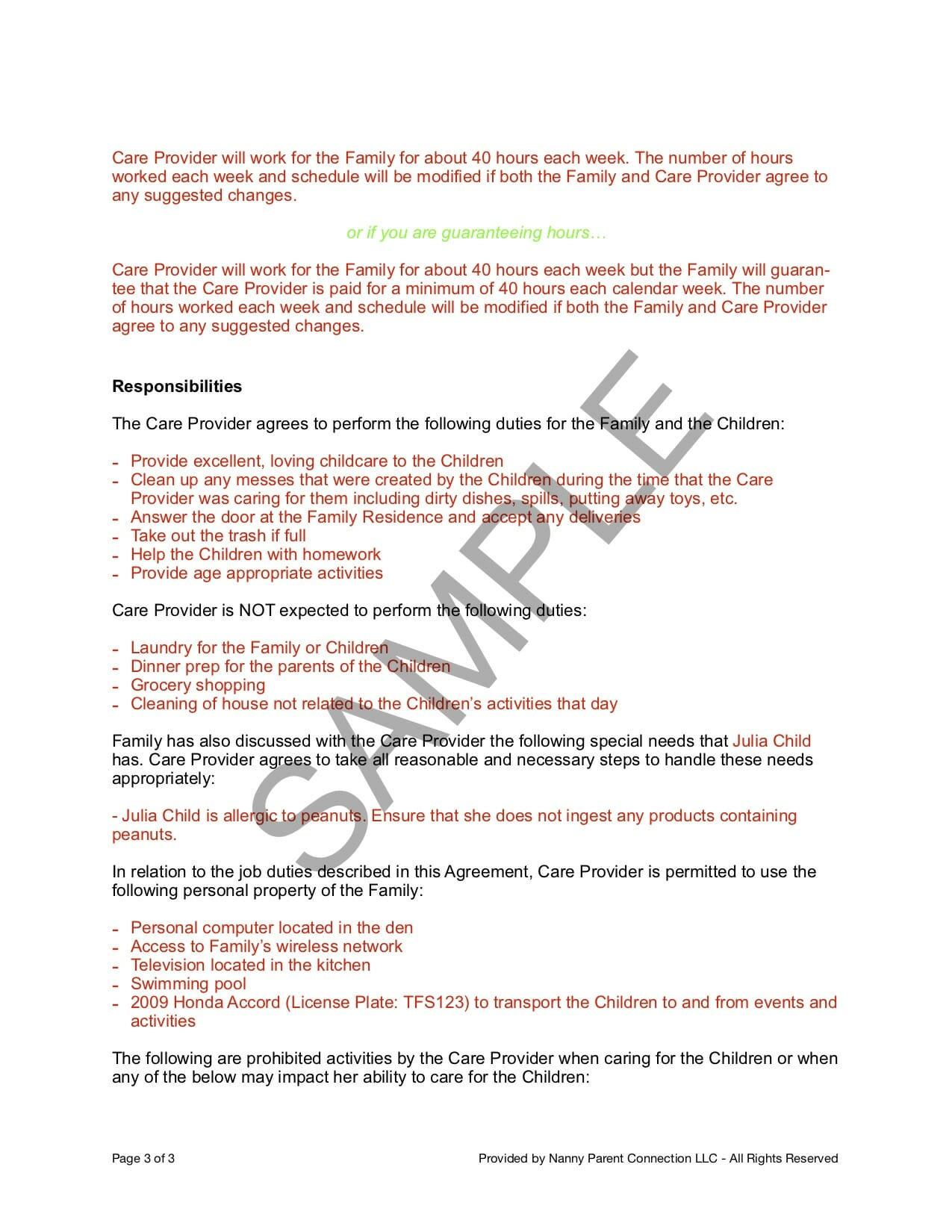 Household Employee Agreement | Nanny Parent Connection