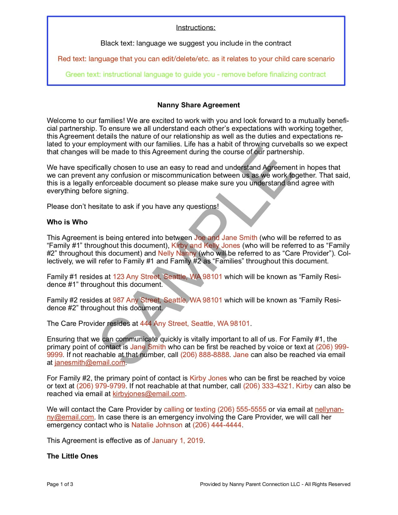 nanny share contract