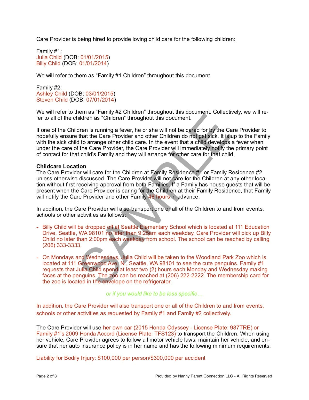 29 printable nanny client sample contract forms and templates.