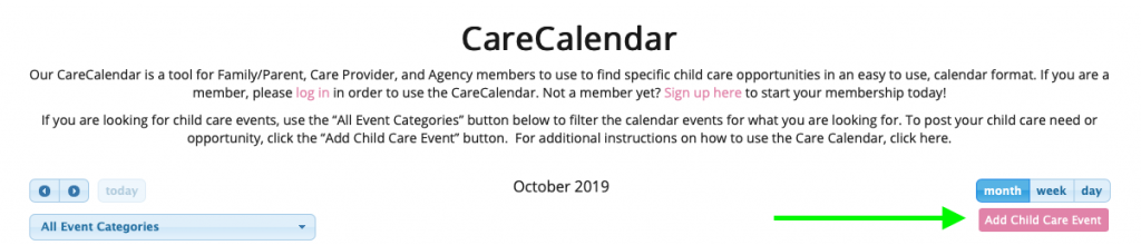 nanny booking calendar